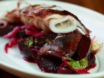 Calamari Cooked in Olive Oil  with a spiced beetroot salad